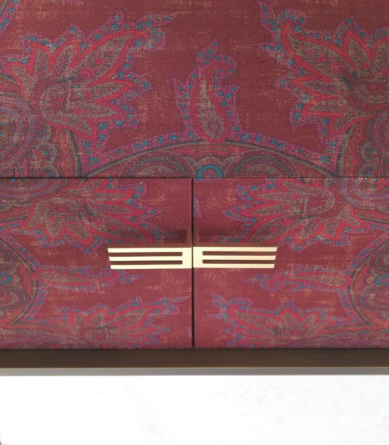 Italian Etro Kolkata Sideboard with 2 Doors in Metal and Wood For Sale