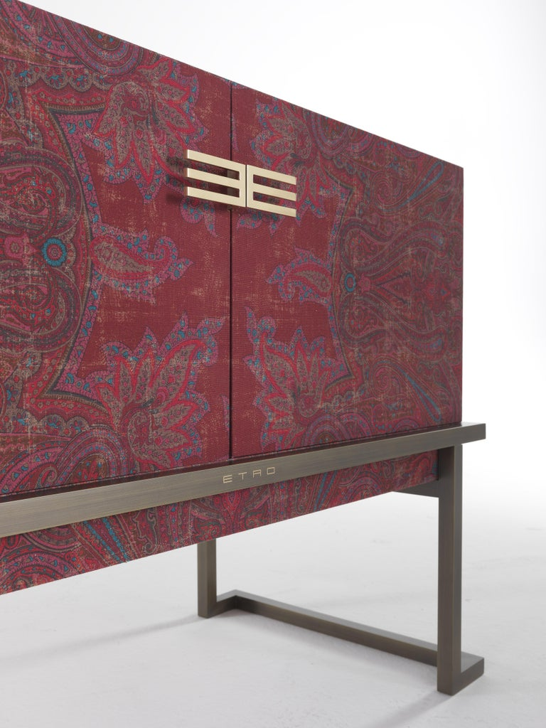 Patinated Etro Kolkata Sideboard with 2 Doors in Metal and Wood For Sale