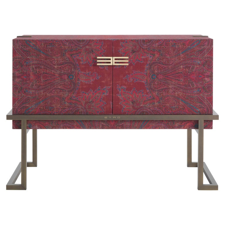 Etro Kolkata Sideboard with 2 Doors in Metal and Wood For Sale