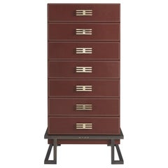 Etro Kolkata Tall Chest of Drawers in Metal and Leather