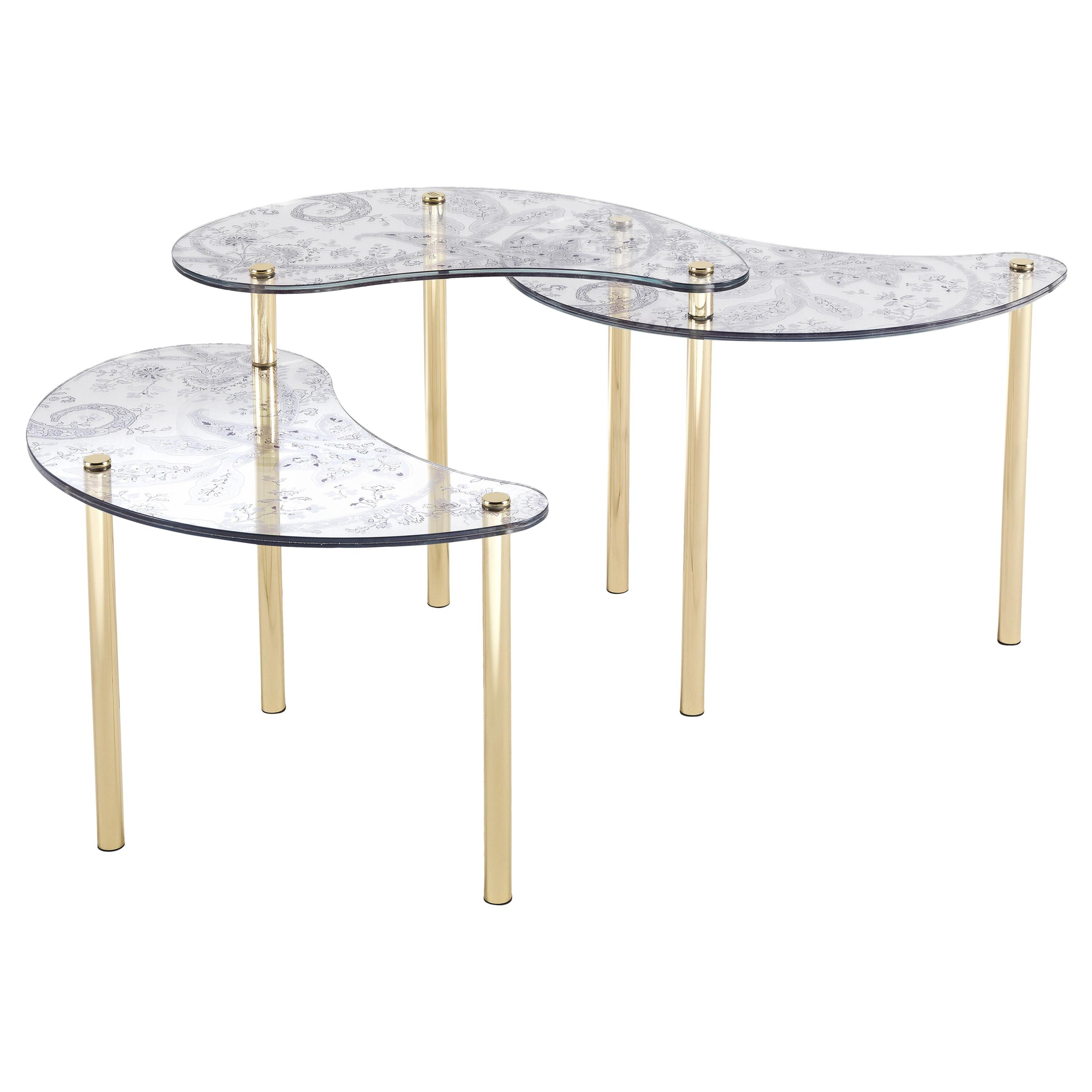 Etro Home Interiors Krishna Small Table in Glass and Brass