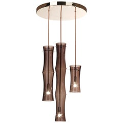 Etro Home Interiors Kyoto 3-Light Bamboo Shaped Chandelier in Clear Bronze Glass