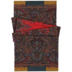 ETRO Large Paisley Kaleidoscope Print Wool Silk Scarf / Wrap