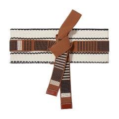 Etro Leather Trimmed Brown/Cream Embroidered Cotton-Canvas Waist Belt SZ Medium
