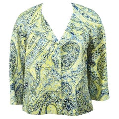 Etro Lime Green and Blue Silk Print Jacket - 38