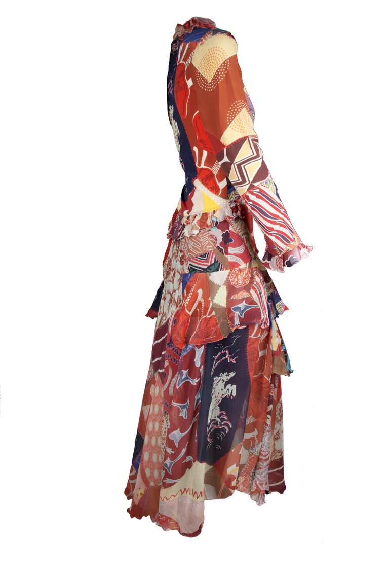 Pink Etro Runway Long Sleeve Multicolor Print Silk Tiered Ruffle Dress Size 42 For Sale