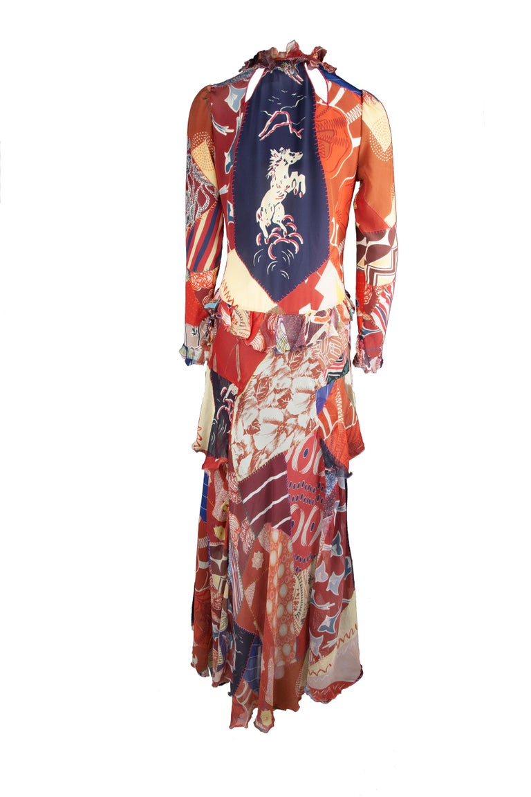 Etro Runway Long Sleeve Multicolor Print Silk Tiered Ruffle Dress Size 42 In New Condition For Sale In Paradise Island, BS