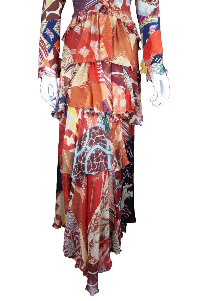 Women's Etro Runway Long Sleeve Multicolor Print Silk Tiered Ruffle Dress Size 42 For Sale