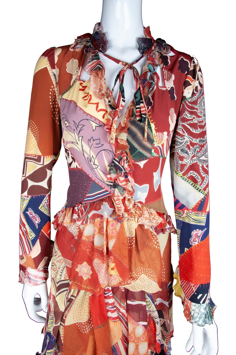 Etro Runway Long Sleeve Multicolor Print Silk Tiered Ruffle Dress Size 42 For Sale 1
