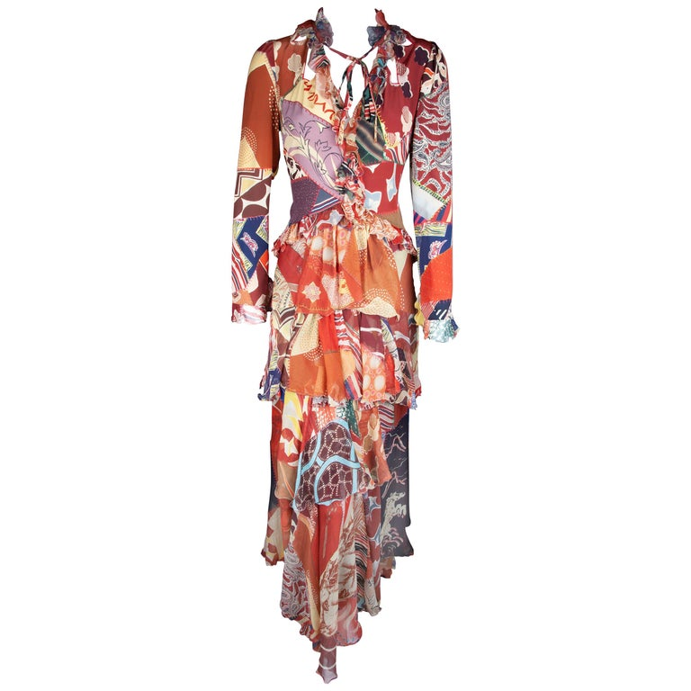 Etro Runway Long Sleeve Multicolor Print Silk Tiered Ruffle Dress Size 42 For Sale