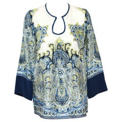 Etro Long Sleeve Paisley Print White and Blue Top