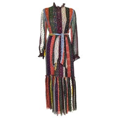 Etro Long Sleeve Silk Crepon Multi-Print Patch Maxi Dress w/Sash and Ruffles