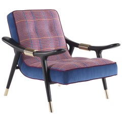 Etro Masai Armchair in Houndstooth Pattern and Wood