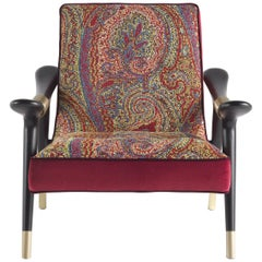 Etro Masai Armchair in Multi-Color Paisley and Wood