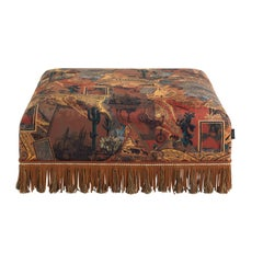 Etro Mauritania Pouf in Wood and Leather