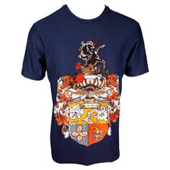 Etro Mens Navy Blue Jersey Cotton Unicorn T-Shirt Size Small