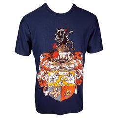 Etro Mens Navy Blue Jersey Cotton Unicorn T-Shirt Size XL