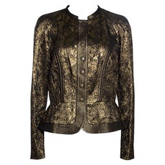 Etro Metallic Lurex Textured Peplum Buttoned Jacket M