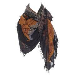 ETRO modal cashmere blend signature paisley print fringe trimmed scarf