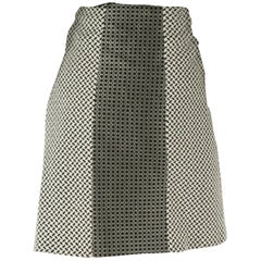 Etro Monochrome Cotton Blend Jacquard Paneled Pencil Skirt L