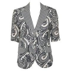Etro Monochrome Printed Linen Short Sleeve Blazer L
