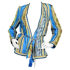 Etro Multi-Color Printed Silk Blouse w/ Tassel Belt sz 40
