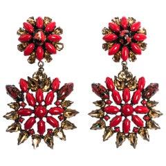Etro Multicolor Crystal Flower Gold Tone Clip-on Drop Earrings