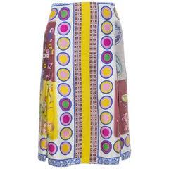 Etro Multicolor Floral Print Silk Pleated Skirt M