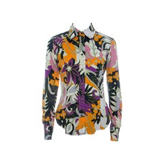 Etro Multicolor Floral Printed Cotton Long Sleeve Shirt M