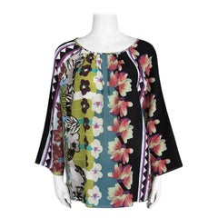 Etro Multicolor Floral Printed Silk Pleat Detail Long Sleeve Top L