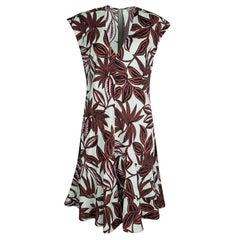 Etro Multicolor Leaf Print Cotton V-Neck Sleeveless Dress M