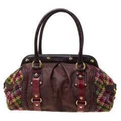 Etro Multicolor Paisley Coated Canvas,Croc Embossed Leather and Fabric Frame Sat