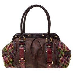 Etro Multicolor Paisley Coated Canvas,Croc Embossed Leather Frame Satchel