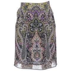 Etro Multicolor Paisley Print Silk Skirt S