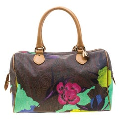 Etro Multicolor Paisley Printed Coated Canvas and Leather Satchel