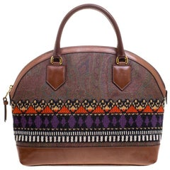 Etro Multicolor Paisley Printed Coated Canvas Crochet Detail Satchel