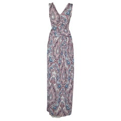 Etro Multicolor Paisley Printed Knit Ruched Belted Detail Maxi Dress M