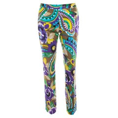 Etro Multicolor Printed Cotton Straight Fit Trouser M