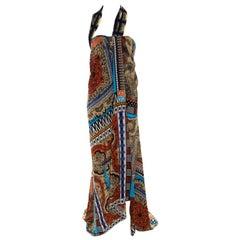 Etro Multicolor Printed Silk Bustier Maxi Wrap Dress M