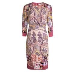 Etro Multicolor Printed Silk Draped Front Faux Wrap Dress L