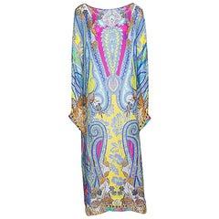 Etro Multicolor Printed Silk Gauze Long Sleeve Dress M