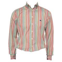 Etro Multicolor Striped Cotton Button Front Shirt M