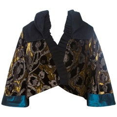 Etro Multicolor Velvet Jacquard Cropped Kimono Jacket S