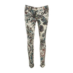 Etro Multicolor Washed Denim Paisley Printed Slim Fit Jeans M