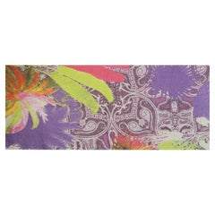ETRO multicolored linen PAISLEY COLLAGE Oblong Scarf