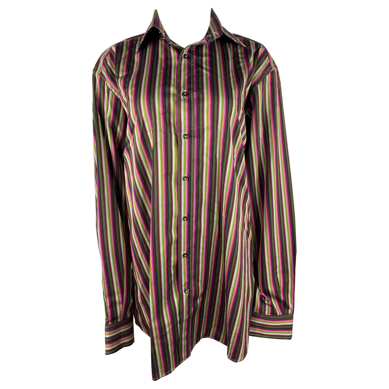 Etro Multicolored Striped Button Down Shirt, Size 44