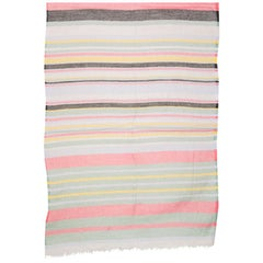 ETRO multicolored STRIPED linen cashmere silk Oblong Scarf