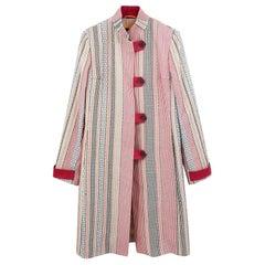 Etro multicolored stripped cotton coat - Size US 8
