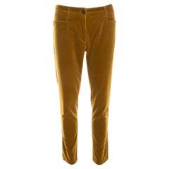 Etro Mustard Yellow Velvet Zip Detail Pants M