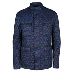 e702cf1be Etro Navy Blue and Black Paisley Print Diamond Quilted Jacket XL